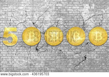 Wall Of Bricks With Bitcoin At 50000 Dollars On White 3d Background. Crypto-currency And Store Of Va
