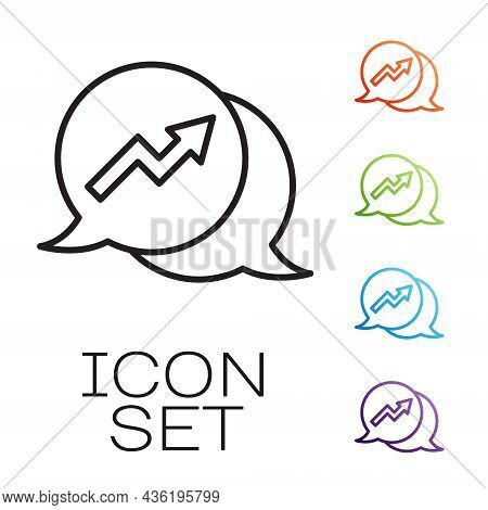 Black Line Financial Growth Increase Icon Isolated On White Background. Increasing Revenue. Set Icon