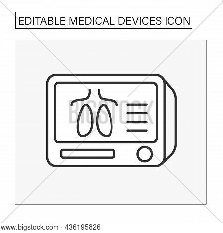 Medical Monitor Line Icon. Medical Lungs Examination. Special Screen. X-ray. Resuscitation. Medical