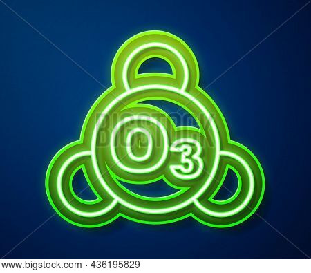 Glowing Neon Line Ozone Molecule Icon Isolated On Blue Background. Ozone, O3, Trioxygen, Inorganic M