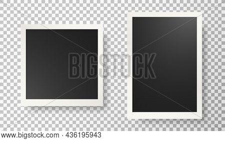 Photo Frame Set. Photograph Picture Template. Album Border. Scrapbook Image. Vintage Paper Decor. Pi