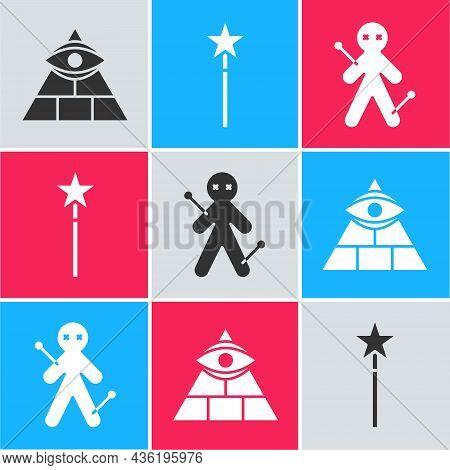Set Masons, Magic Wand And Voodoo Doll Icon. Vector