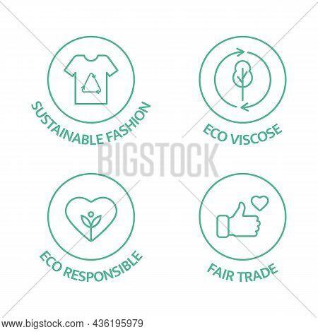 Slow Fashion Badge. Sustainable Fashion Line Icon Set. Eco Viscose Product Logo. Organic Cotton, Nat