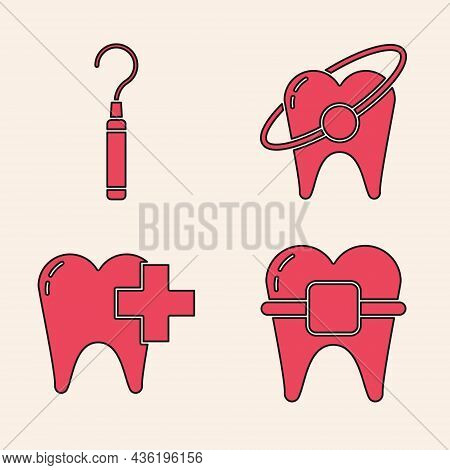 Set Teeth With Braces, Dental Explorer Scaler For Teeth, Tooth Whitening Concept And Dental Clinic F