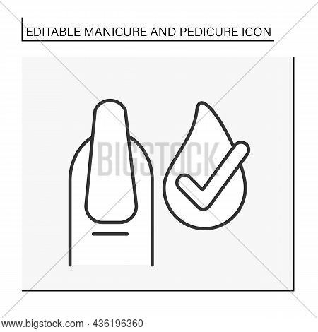 Spa Procedure Line Icon. Cuticle Remover. Delicate Care Of Nails. Finger Moisturizing. Beauty Proced
