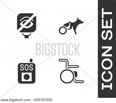 Set Wheelchair, Blindness, Press The Sos Button And Dog Wheelchair Icon. Vector