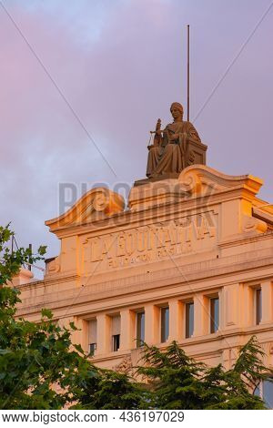 Valencia, Spain. September 23, 2021: Classic Building In The Town Hall Square, With A Sculpture Repr
