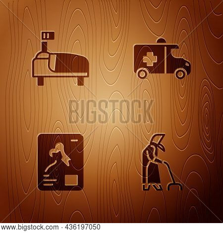 Set Grandmother, Hospital Bed, X-ray Shots And Emergency Car On Wooden Background. Vector