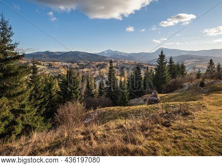 Late Autumn Mountain Scene. Picturesque Traveling, Seasonal, Nature And Countryside Beauty Concept S