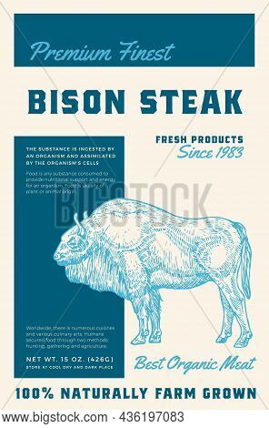 Premium Finest Bison Steak. Abstract Vector Meat Packaging Product Label Design. Retro Typography An