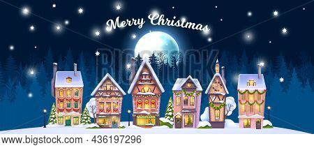 Christmas Winter House Landscape, Vector Holiday X-mas Village Background, Small North Town, Full Mo