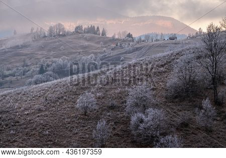 Winter Coming. Last Good Weather Days In Autumn Mountains Countryside Morning Peaceful Picturesque S