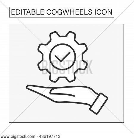 Mechanism Line Icon. Result Of Work On Palm. Correct Configurations. Cogwheels Concept. Isolated Vec
