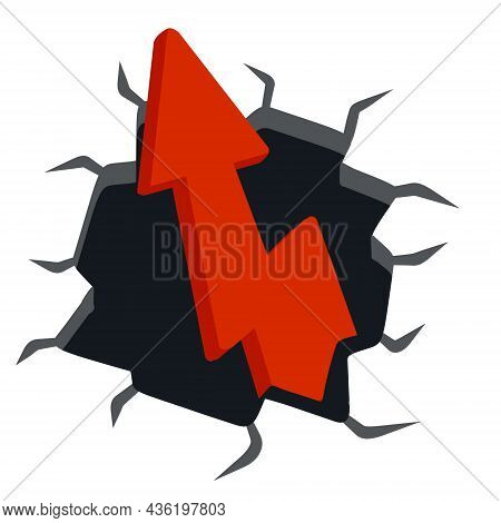 Red Arrow Break Wall. Cracks And Fragments Of Plaster. Cartoon Abstract Concept Of Force, Power And