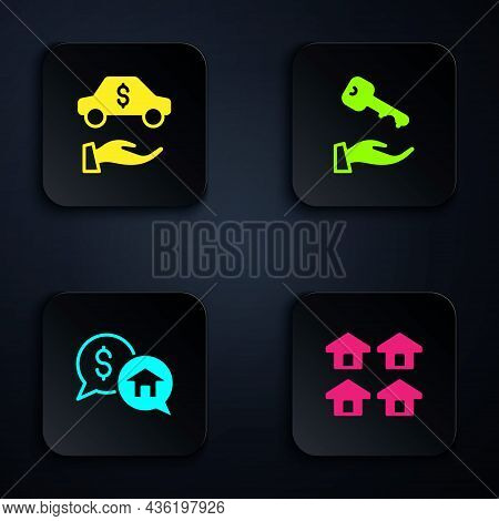 Set Real Estate, Car Rental, Price Negotiation And House Key. Black Square Button. Vector