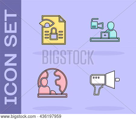 Set Megaphone, Journalistic Investigation, World News And Breaking Icon. Vector
