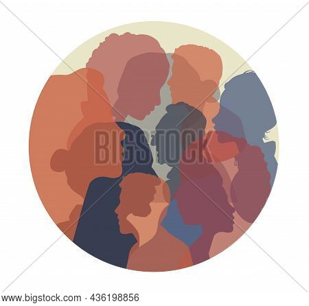 Group Side Silhouette. Large Crowd Of People, Public Opinion Concept. Diversity Multiethnic People.