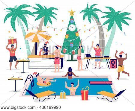 Tropic Christmas Pool Party. People In Santa Hats Swimming, Drinking Beer, Dancing. Tropical Winter
