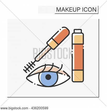 Mascara Color Icon. Special Cosmetic Product For Making Lashes Longer And Volume. Makeup Concept. Is