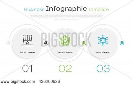 Set Line Patriotic American Top Hat, Shield With Stars And Hexagram Sheriff. Business Infographic Te