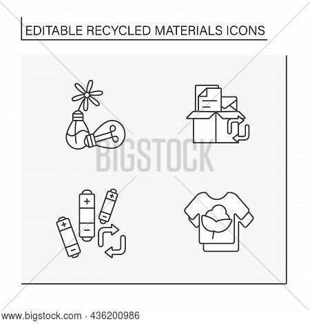 Recycled Materials Line Icons Set. Recycled Materials Decor, Battery Recycling, Reusable Shirt. Wast