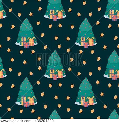 Pattern With Christmas Trees And Gifts. An Illustration With A Christmas Tree And Presents Inside Th