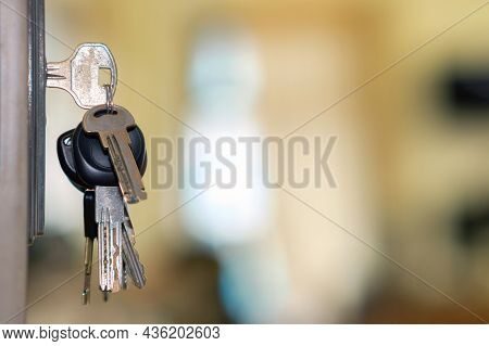 The Bunch Of Keys With Keyring In The Door Keyhole With Blurred Sunny Background, Selective Focus