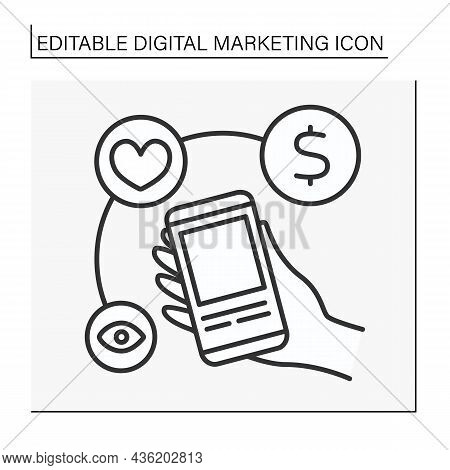 Social Media Marketing Line Icon. Smm. Influencer Create Content On Smartphone. Promotions. Digital