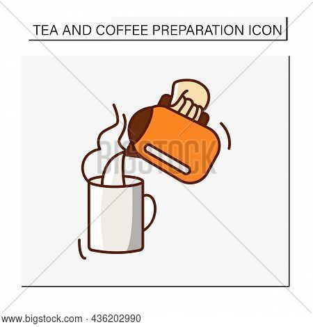 Hot Drink Color Icon. Pour Hot Steam Water From An Electric Kettle Into An Empty Cup.cafeteria. Tea
