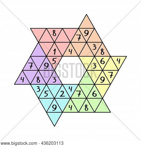 Educational Number Puzzle - Colorful Star Sudoku For Children Vector Illustration. Complete With 1-9