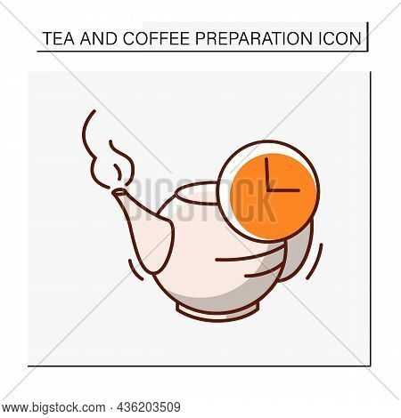 Teapot Color Icon. Tea Infusion For 5 Minutes. Tea And Coffee Preparation Concept. Isolated Vector I