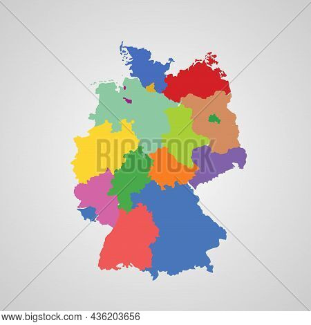 Political Map Of Germany Isolated Illustration On White Background