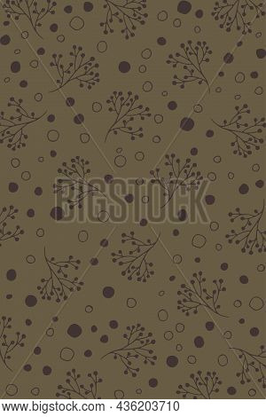 Brown Pattern In Doodle Style, Vintage Mood. Autumn Vector With Circle Shapes And Floral Branches, C