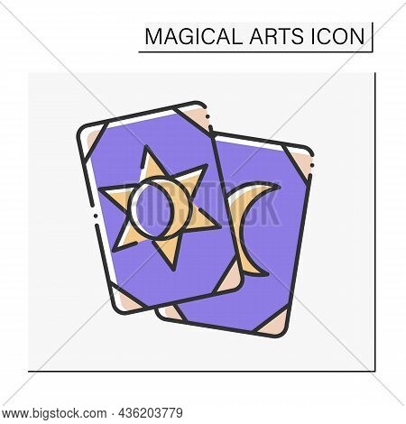 Tarot Cards Color Icon. Gambling. Divination, Future Prediction. Magical Arts Concept. Isolated Vect