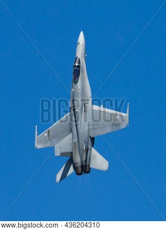 Volkel, Netherlands - June 15, 2013: Military Fighter Jet Plane At Air Base. Air Force Flight Operat