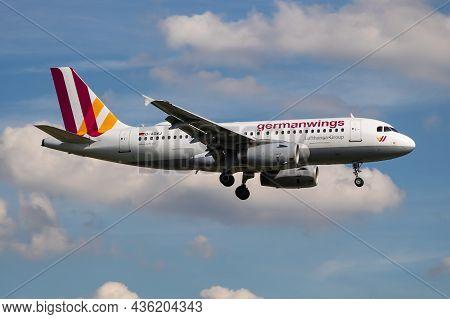 Hamburg, Germany - July 6, 2017: Germanwings Passenger Plane At Airport. Schedule Flight Travel. Avi