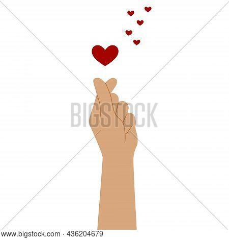 Korean Heart Sign. Finger Love Symbol. Happy Valentine's Day. I Love Your Hand Gesture. Vector Illus