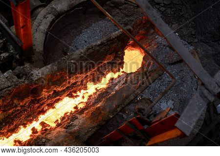 The Hot Inner Surface Of The Metallurgical Ladle. A Hole In A Thick Crust Of Solidified Metal.