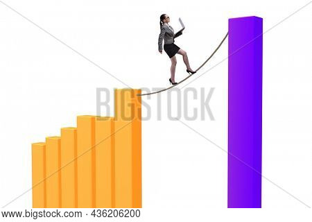 Businesswoman walking on tight rope between bar chart
