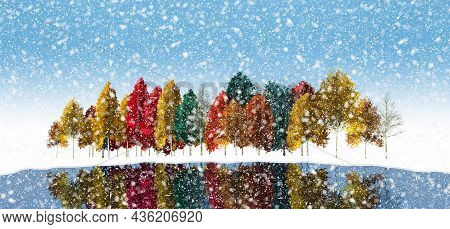 Colorful Autumn Trees Are Seen In An Early Arriving Snowstorm In This 3-d Illustration.