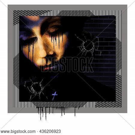 A Woman Expresses Sadness, Broken Glass Depicts Violence And A Cross Necklace Signifies Faith And Re