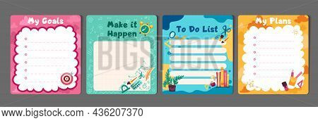 Kids Stationery Set With Memo Planners, To-do Lists With Cute Illustrations, Template For Planners,