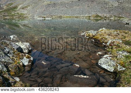 Sunny Beautiful Scenery With Grasses On Rocks Near Water Edge Of Mountain Lake In Sunlight. Scenic L