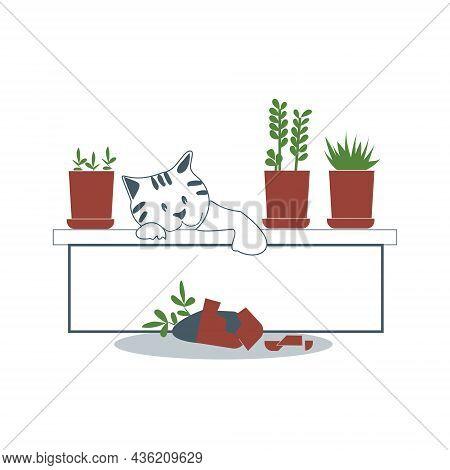 A Bad Cat Broke A Flower Pot. Vector Flat Image.