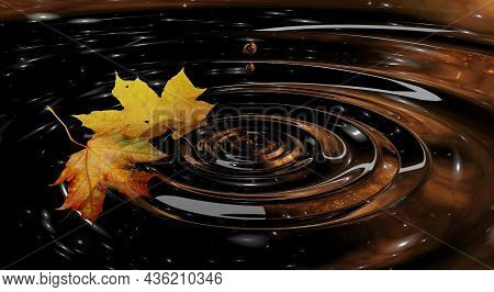 Autumn Background Two Yellow Maple Leaves Fell On The Water. Circles On The Water Reflection Shine.