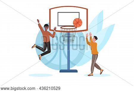 Two Boys Playing Basketball. Leisure Activities, Friends After School. Team Sports, Health Promotion