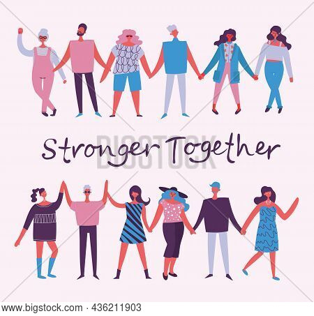 Vector Illustration Of Activists Men And Women Holding Hands Together In The Flat Style. Concept Ill