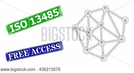 Triangular Mesh Structure Image, And Iso 13485 Blue And Green Rectangle Rubber Seals. Mesh Wireframe