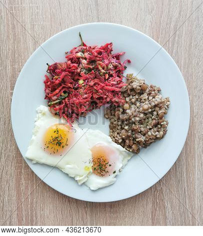 Soft-boiled Eggs, Buckwheat With Green Lentils And Vegetable Salad