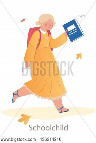 Little Cute Girl Is Going To School On White Background. Concept Of Students And Little Pupils Holdi